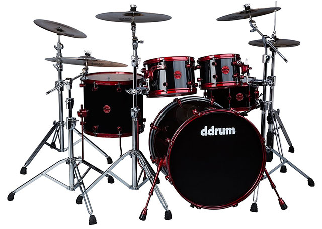 ddrum Reflex 5pc Drum set Black Wrap Red Hardware