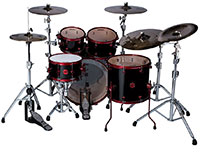ddrum Reflex 5pc Drum set Black Wrap Red Hardware Behind